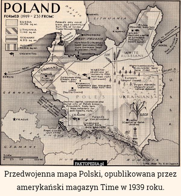 Przedwojenna Mapa Polski Opublikowana Przez Amerykanski Magazyn