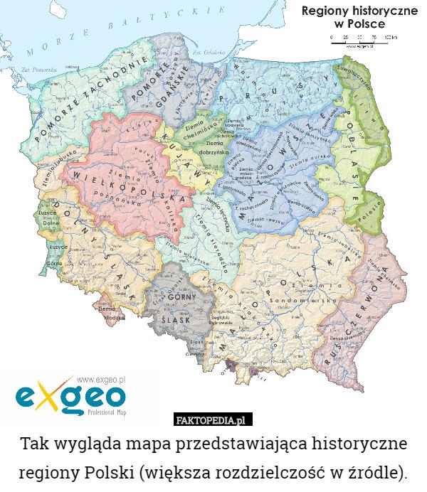 Tak Wygląda Mapa Przedstawiająca Historyczne Regiony Polski